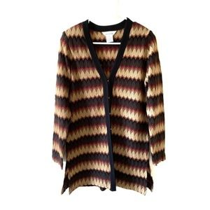Exclusively Misook Small Cardigan Brown Wavy